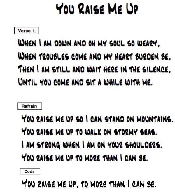 you raise me up lyrics pdf